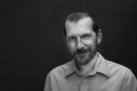 Black and white portrait of a man Фото со стока