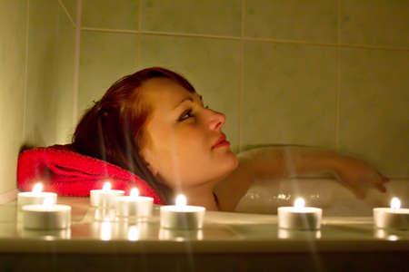 The girl in a bath photo