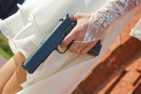 Wedding with the weapon photo