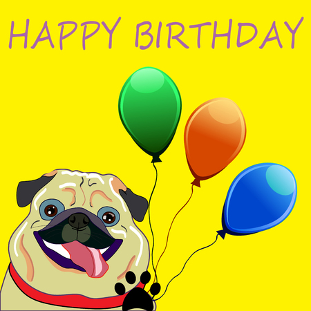 cute dog: Cute Pug with balloons - perfect newborn announcement card or happy birthday card template made in vector. Illustration
