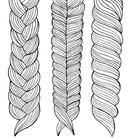 Three braids painted by hand, vector illustration