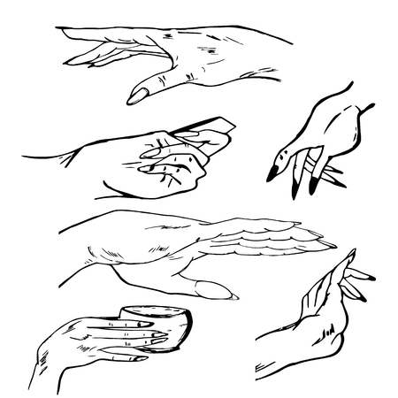 forefinger: Hands, manual graphics, simple illustration Illustration