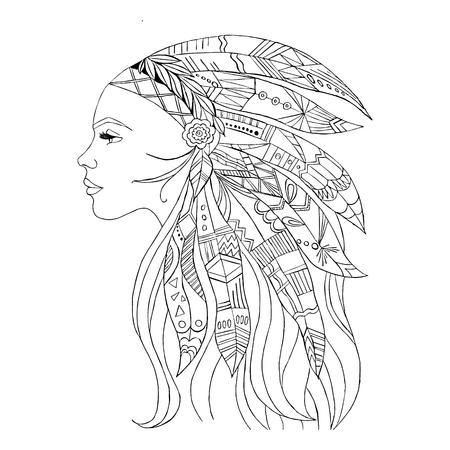 Native American Indian girl in top headgear, vector illustration Illustration