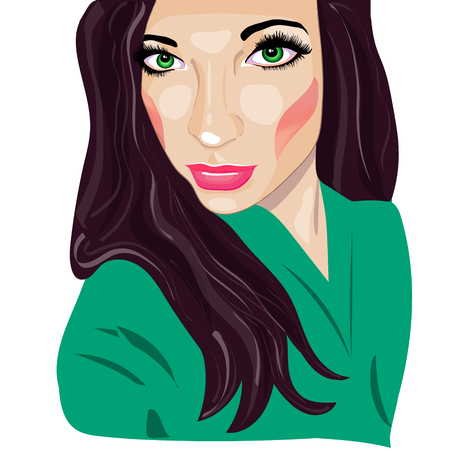 vintage fashion: Portrait  girl, pop art, vector illustration.