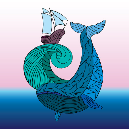 notebook: Sea dudling, drawing hand-drawn whale wave, vector illustration