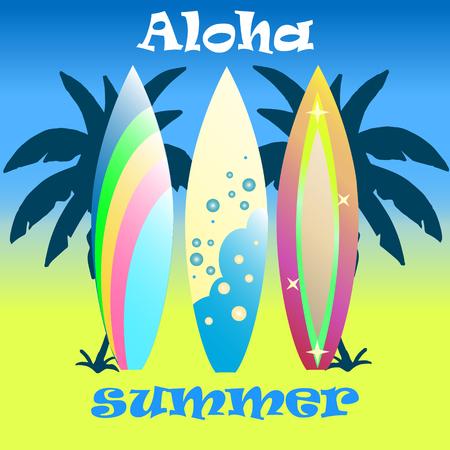 Vector modern colorful surfboard set Illustration