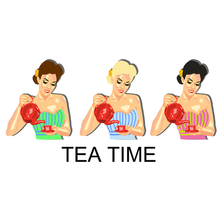 Illustration of a girl with a teapot, tea, coffee, cafe, restaurants Illustration