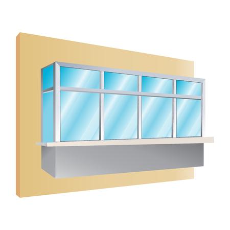 glazed: glazing of balconies icon, vector illustration