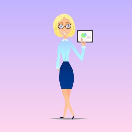 Business lady shows the presentation graphics tablet, vector illustration Illustration