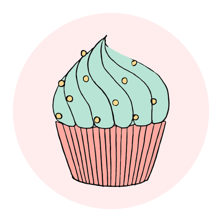 Vector cupcake illustration. Set of hand drawn cupcakes. Doodle cakes with cream and berries. Illustration