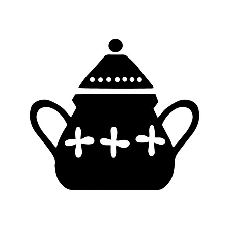 Vector hand drawn poster in the style of Hygge with a picture of a sugar bowl in Scandinavian folk patterns. Illustration