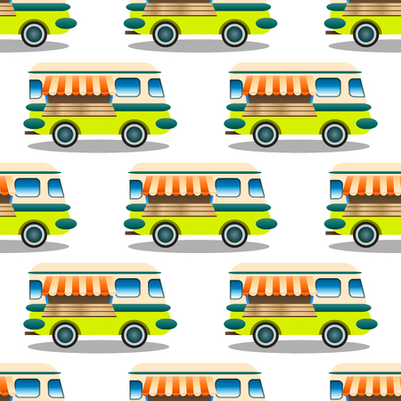 Seamless repeat pattern with  trailer with food, bus on white background, vector illustration. Modern and original textile, wrapping paper, wall art design.