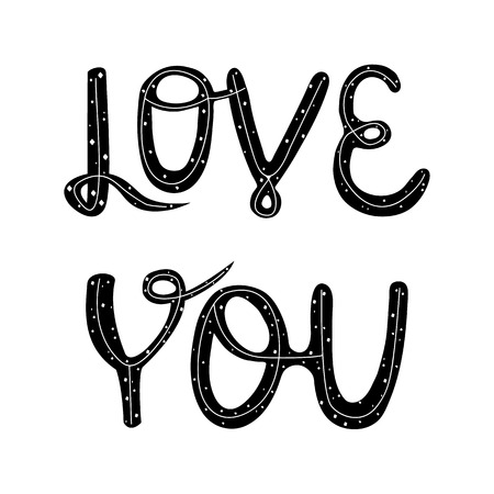 Vector illustration Love You. lettering. Handwritten quote for prints on t-shirts and posters. Illustration