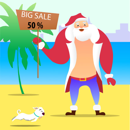 Summer Santa Claus on the beach. Vector cute cartoon character. Christmas in July Sale marketing template vector.