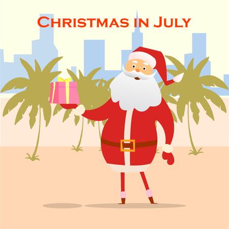 Summer Santa Claus on the beach. Vector cute cartoon character. Christmas in July Sale marketing template.