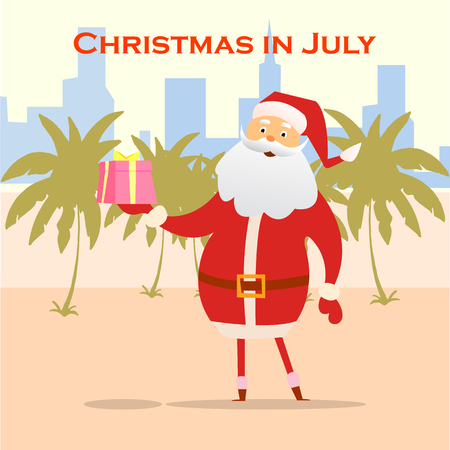 Summer Santa Claus on the beach. Vector cute cartoon character. Christmas in July Sale marketing template.