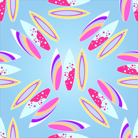 Surfboards seamless pattern with a gradient fill, Vector illustration.