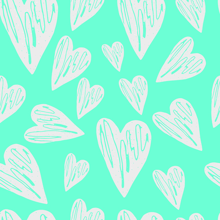 Hearts seamless pattern. Vector illustration. Handwritten quote for prints on t-shirts and posters.