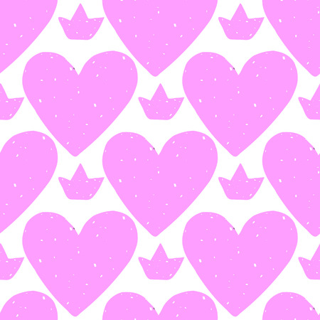 Perfect pastel seamless pattern with hearts. illustration drawn in vector by hand. Beautiful valentine pattern.