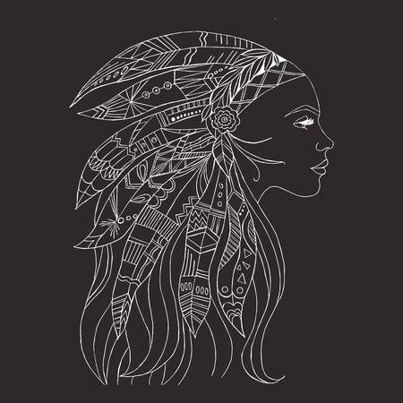 Tribal indian woman tattoo and t-shirt design. Native American woman tattoo art. Ethnic girl warrior. Young woman in costume of american indian vector ethnic art Banque d'images - 100856528