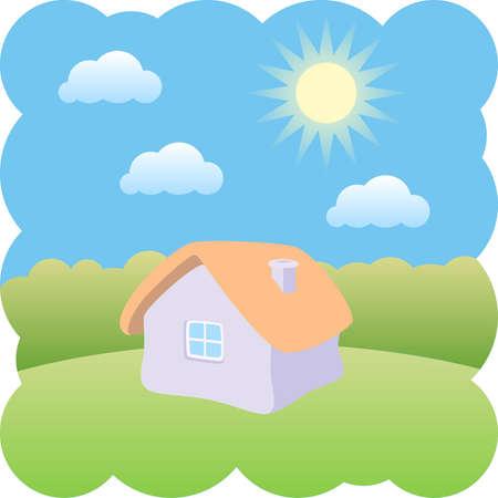 little house on a sunny day Vector