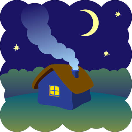 little house on a moonlit night Vector