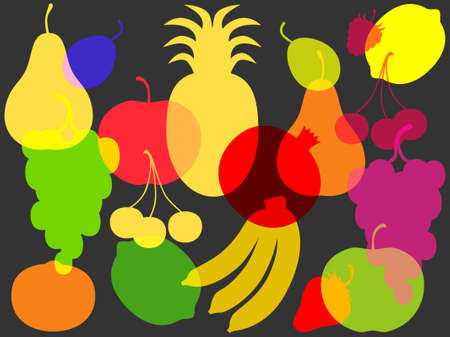 ornament of colorful silhouettes of fruit and berries Vector