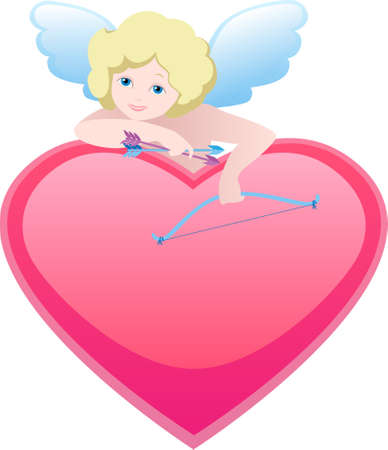 heart and cupid with bow and arrow