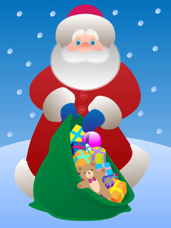 Father Christmas with a bag of gifts