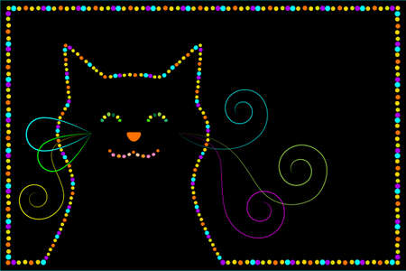 black cat with an outline of the colored balls Stock Vector - 9662780