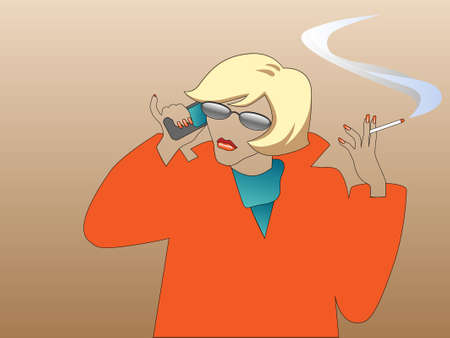 blond with a phone and a cigarette Vector