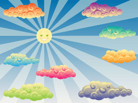 happy sun and colorful curly clouds Illustration