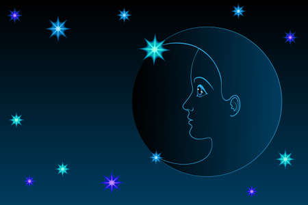 night profile of the moon Stock Vector - 9914328