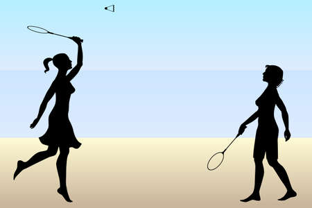 shuttlecock: two girls playing badminton on beach