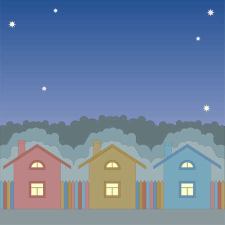 colorful houses under a night sky