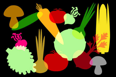 colorful silhouettes of vegetables