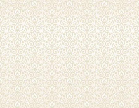 seamless pattern of beige flowers and leaves