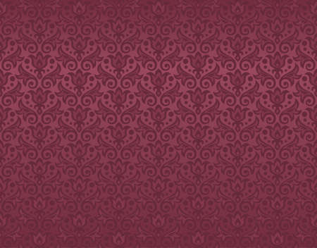 seamless pattern of maroon flowers and leaves