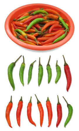 composition of green and red peppers Stock Photo