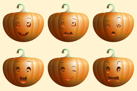six pumpkins with different facial expressions Stock Photo