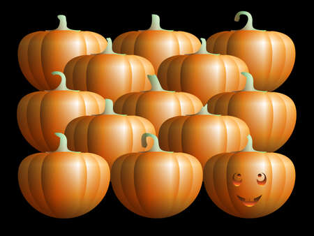 smiling pumpkin with ordinary pumpkins Stock Photo