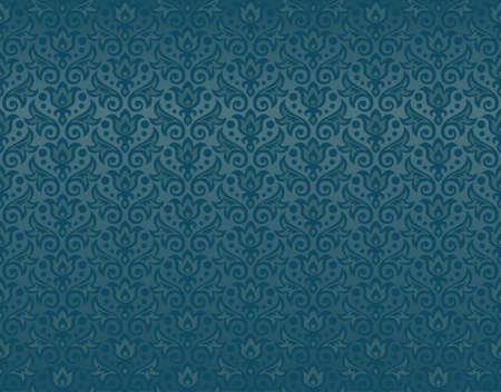seamless pattern of aquamarine flowers and leaves Illustration