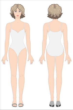 woman back of head: fronte-retro carta da disegno stili bambola di vestiti