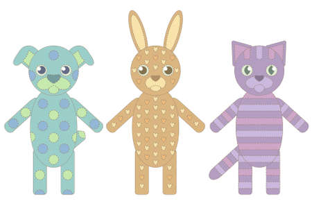three handmade toys from socks: a dog, cat and rabbit