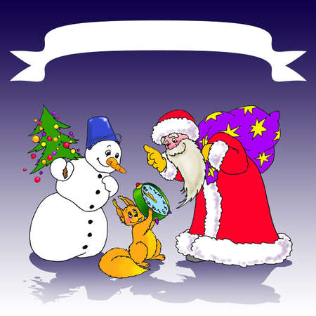 Santa Claus with a bag of gifts, Snowman with Christmas tree and Squirrel looking at alarm clock in anticipation of midnight and tape labeling photo