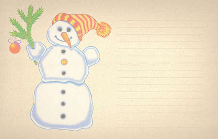 painted snowman in hat with pompom and a branch of a Christmas tree on beige textured paper lined for a letter