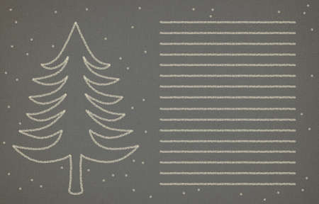 stylized image of a tree and falling snow to a gray textured paper, lined for a letter