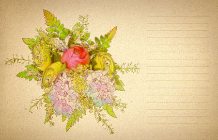bouquet of colorful flowers on a beige textured paper lined for a letter