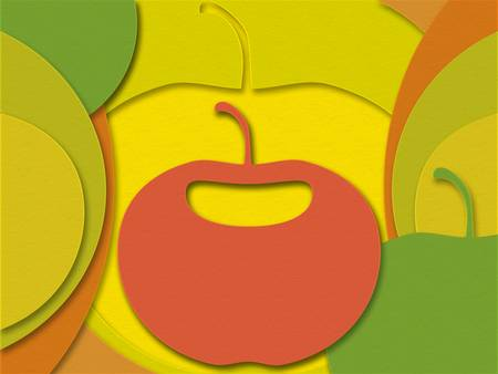 bulk layers of colored paper with an apple in the middle