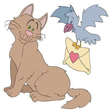 The bird brings a love letter to a cat